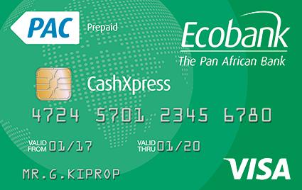 Visa Karte Prepaid.Ecobank Cashxpress